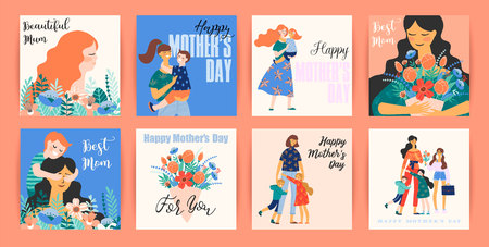 Happy Mothers Day. Vector templates with women and children. Design element for card, poster, banner, and other use. Vectores