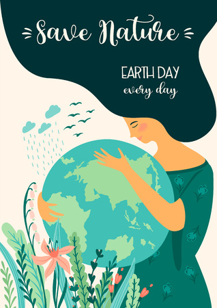 Save Nature. Earth Day. Vecteurs