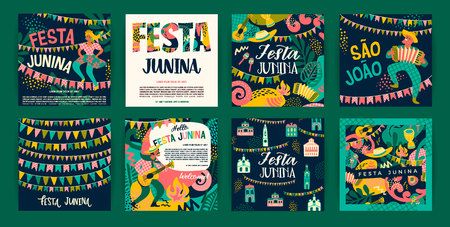 Fête latino-américaine, la fête de juin du Brésil. Festa Junina. Modèles vectoriels.