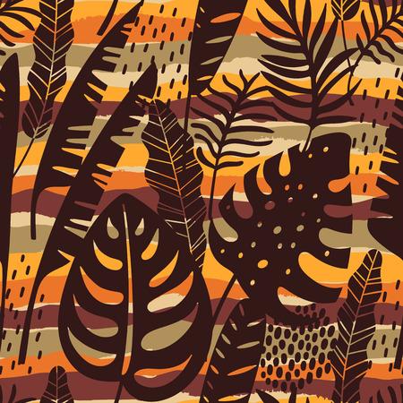 Abstrait modèle sans couture avec des feuilles tropicales. Main dessiner la texture. Modèle vectoriel. Vecteurs