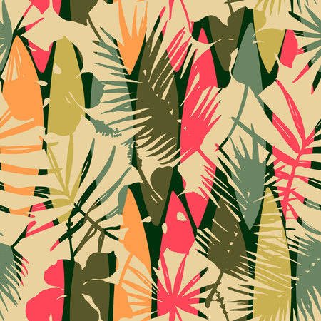 Abstract seamless pattern with tropical leaves. Ilustração
