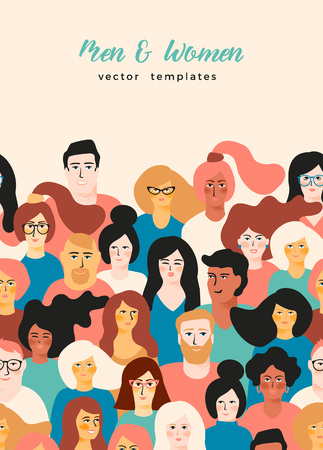 template with young men and women with different skin color. Ilustração