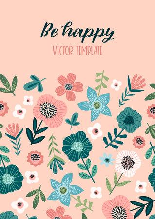 floral design with cute flowers. Ilustração