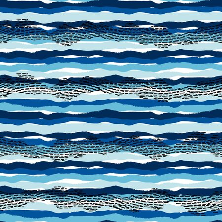 sea seamless pattern with hand drawn textures. Modern abstract design