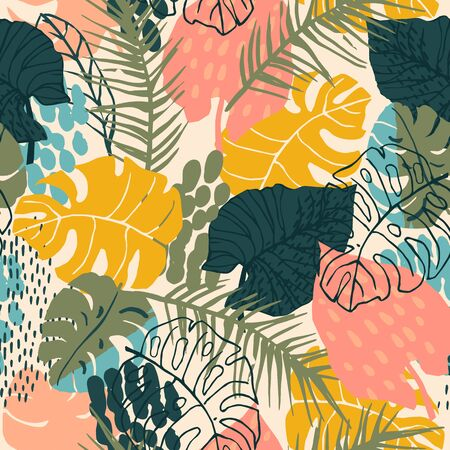Abstract creative seamless pattern with tropical plants and artistic background. 版權商用圖片 - 127649974