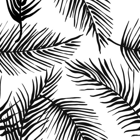 Abstract creative seamless pattern with tropical plants and artistic background. 版權商用圖片 - 127649977