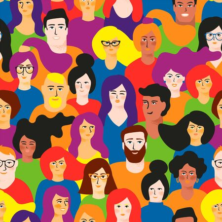seamless pattern with young men and women in LGBT colors. Ilustração