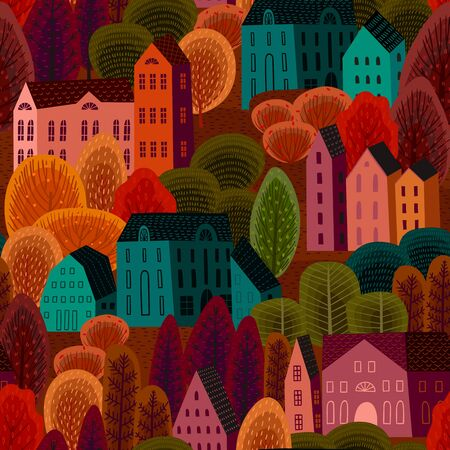 seamless pattern with autumn city. Background for various surface.