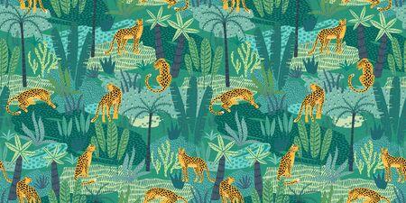 Vestor seamless pattern with leopards and tropical leaves. Ilustração