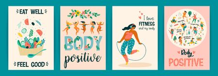 Body positive. Vector templates. Happy plus size girls and active healthy lifestyle. 向量圖像