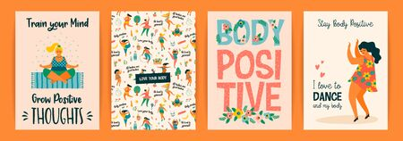 Body positive. Vector templates. Happy plus size girls and active healthy lifestyle. 版權商用圖片 - 131964707
