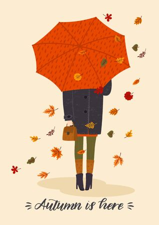 Autumn illustration with cute woman under umbrella. Vector design for card, poster, flyer, web and other users.