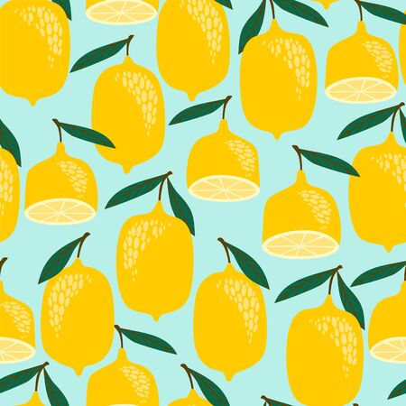 Vector seamless pattern with lemons. Trendy hand drawn textures. Modern abstract design for paper, cover, fabric, interior decor and other users. 版權商用圖片 - 128349781