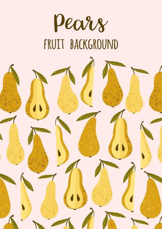Vector template with pears. Trendy hand drawn textures. 版權商用圖片 - 131964447