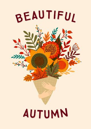 Cute illustration with autumn bouquet. Vector template for card, poster, flyer, cover and other use.