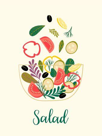 Ilustración de vector de ensalada de verduras. Comida sana. Ilustración de vector