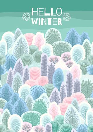 Illustration with winter forest. Vector template for card, poster, flyer, cover and other use. 版權商用圖片 - 131964728