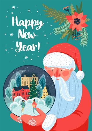 Christmas and Happy New Year illustration with Santa Claus. 向量圖像