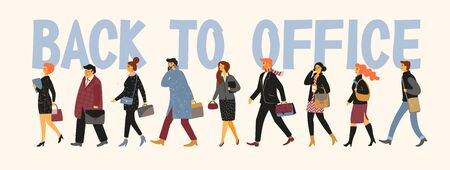 Back to office. Vectior illustration of people going to work. Illustration