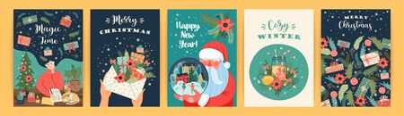Set of Christmas and Happy New Year illustrations. Vector design templates. 版權商用圖片 - 131964599
