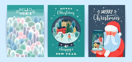 Set of Christmas and Happy New Year illustrations. Vector design templates.