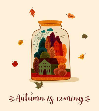 Autumn cute illustration. Vector design for card, poster, flyer