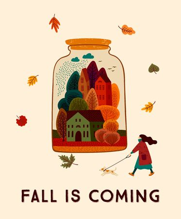 Autumn cute illustration. Vector design for card, poster, flyer, web and other users. 向量圖像