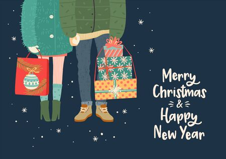 Christmas and Happy New Year illustration with romantic couple with gifts