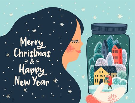Christmas and Happy New Year illustration with cute woman. 版權商用圖片 - 131216914