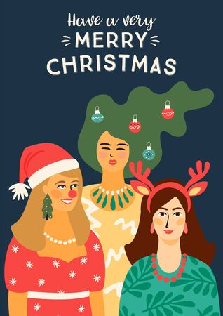 Christmas and Happy New Year illustration with people in carnival costumes. Trendy retro style. Vector design template. 版權商用圖片 - 131347483