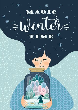 Winter illustration with cute woman. Vector design template.