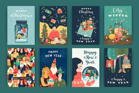 Set of Christmas and Happy New Year illustrations. Trendy retro style. Vector design templates. 版權商用圖片 - 131875493