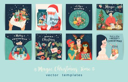 Set of Christmas and Happy New Year illustrations. Vector design templates. 版權商用圖片 - 132106318