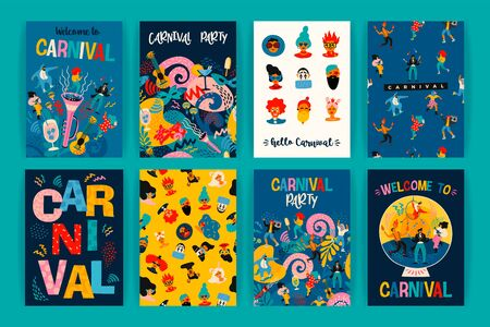 Bonjour Carnaval. Ensemble d'illustrations vectorielles pour le concept de carnaval et d'autres utilisations. Vecteurs