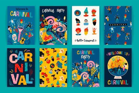 Hola carnaval. Vector conjunto de ilustraciones para el concepto de carnaval y otros usos. Ilustración de vector
