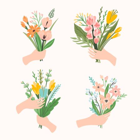Vector illustration bouquets of flowers in hands. Design template for card, poster, flyer and other users 向量圖像