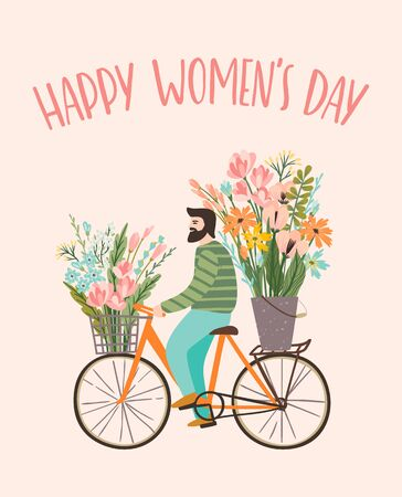 International Women s Day. Vector templates with cute man with flowers on a bicycle for card, poster, flyer and other users