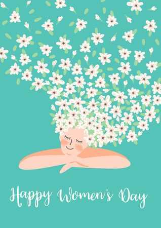 International Women s Day. Vector template with cute woman and flowers for card, poster, flyer and other users