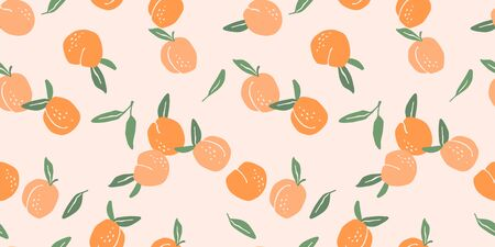 Vector seamless pattern with peaches. Trendy hand drawn textures.  イラスト・ベクター素材