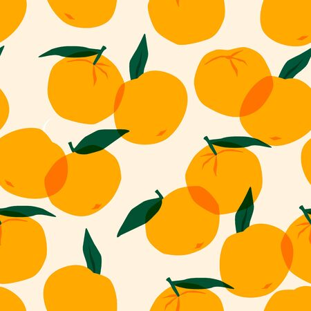 Vector seamless pattern with mandarins. Trendy hand drawn textures.