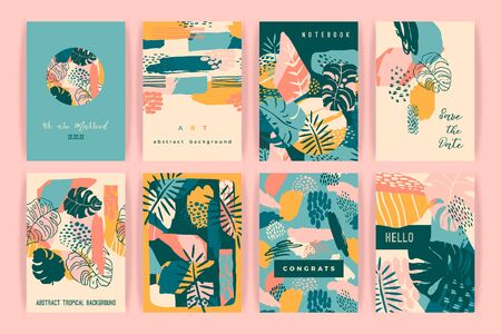 Creative set of templates with tropical plants and artistic background.