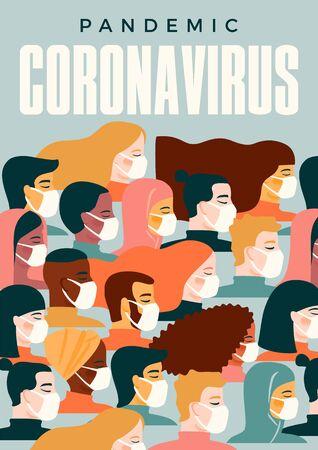 Coronavirus pandemic. 2019-nCoV. Vector illustration of people in white medical face mask Standard-Bild - 143848151