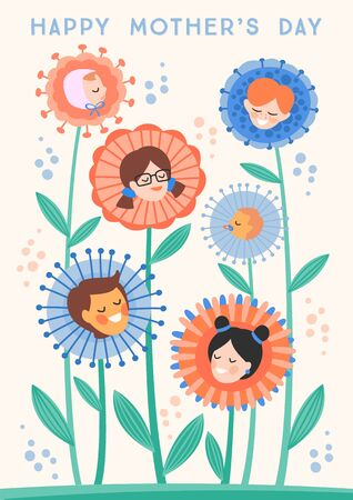 Happy Mothers Day. Vector illustration with children in flowers.