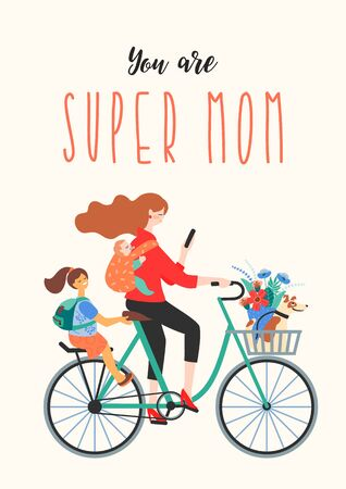 Happy Mothers Day. Super Mom on a bicycle with children and a dog. Vector illustration for card, poster, banner, and other use. Vector Illustratie