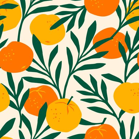 Vector seamless pattern with mandarins. Trendy hand drawn textures Vetores