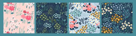 Floral abstract seamless patterns. Vector design for different surfases. Ilustracja