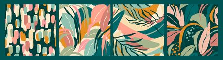 Abstract collection of seamless patterns with leaves and geometric shapes. Illustration