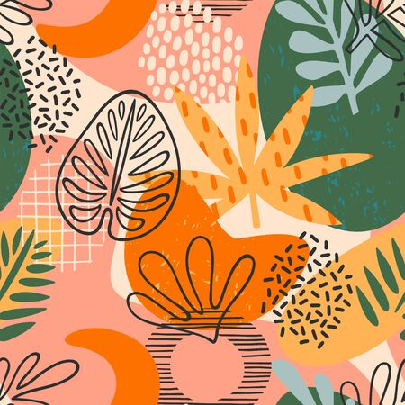Abstract seamless pattern with tropical leaves. Hand draw texture. Vector. Ilustración de vector