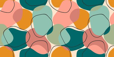Simple geometric seamless pattern with abstract shapes. Illustration