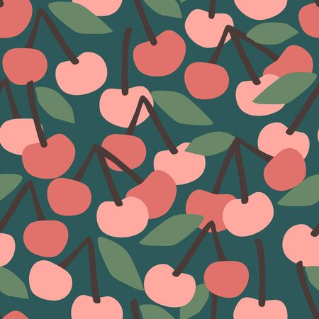 Vector seamless pattern with cherry. Trendy hand drawn textures.